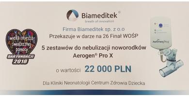 Firma Biameditek podczas 26 Finału WOŚP przekazała na rzecz Fundacji 5 profesjonalnych zestawów do nebulizacji marki Aerogen